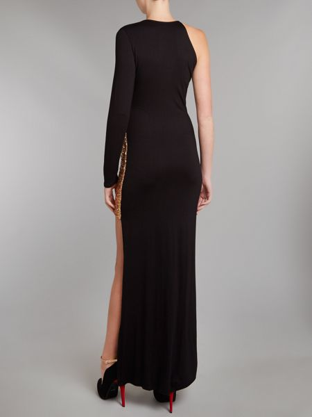 John Zack One shoulder sequin maxi dress