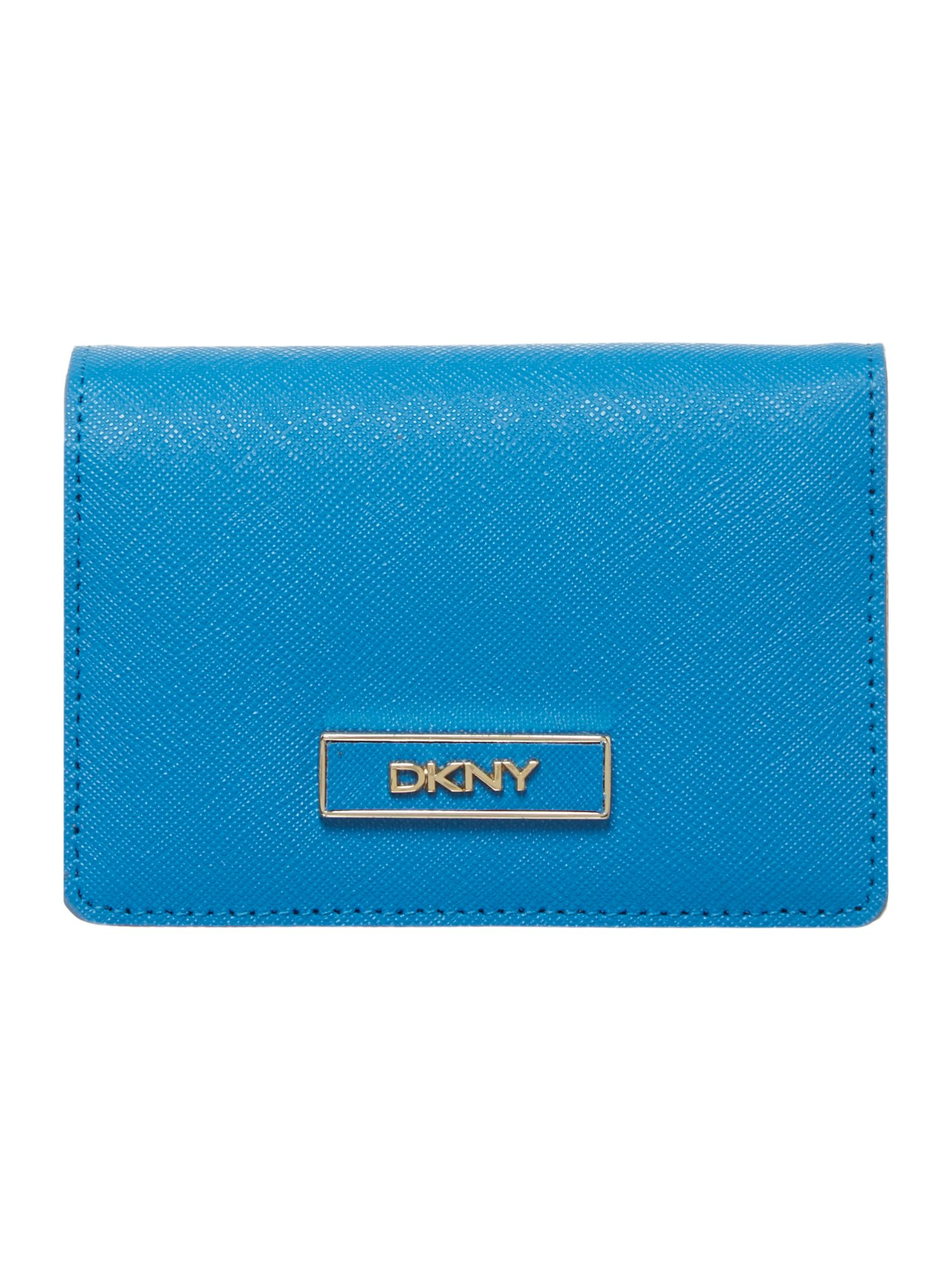 Saffiano blue travel card holder