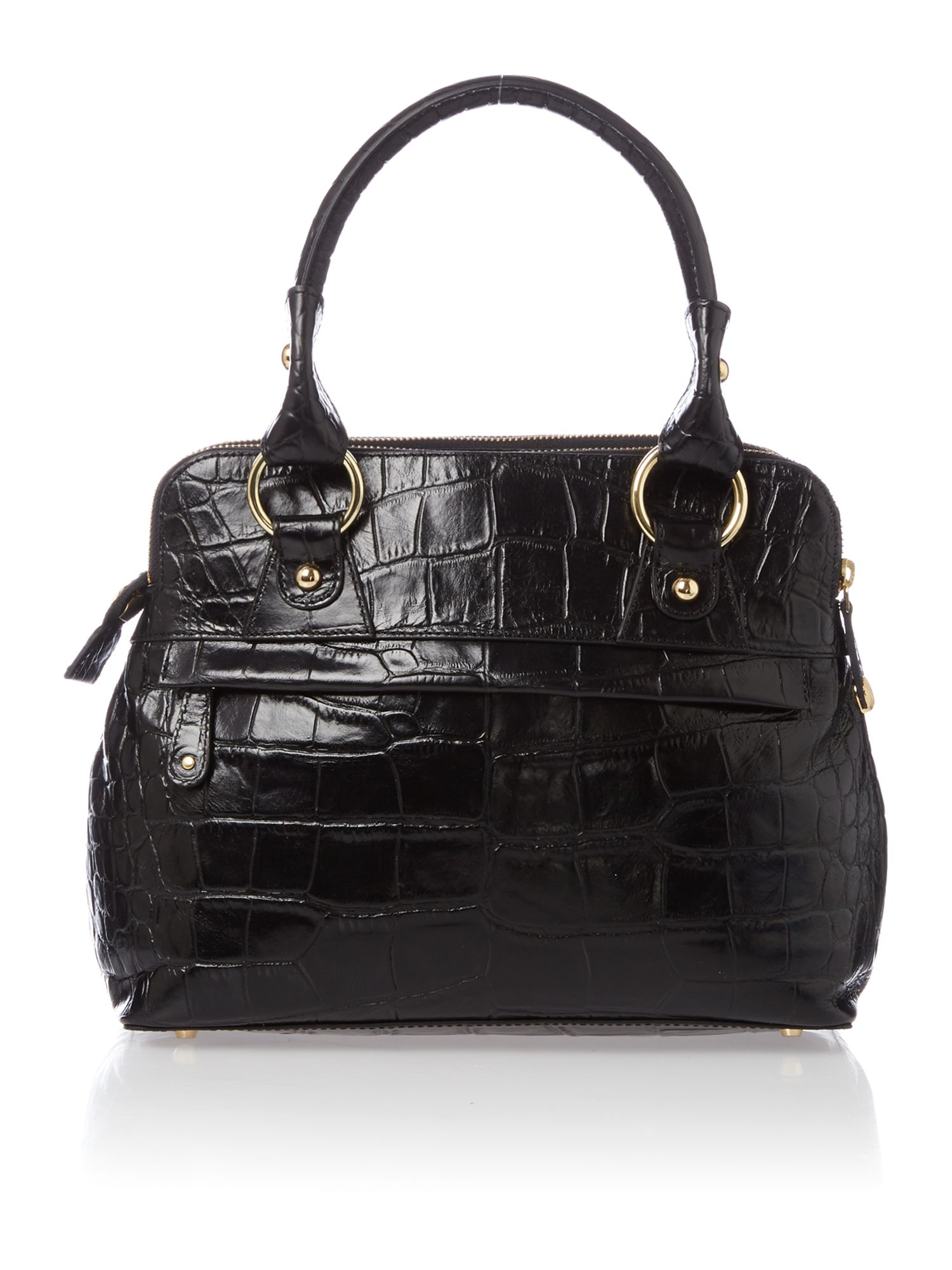 Pippa small black croc tote bag