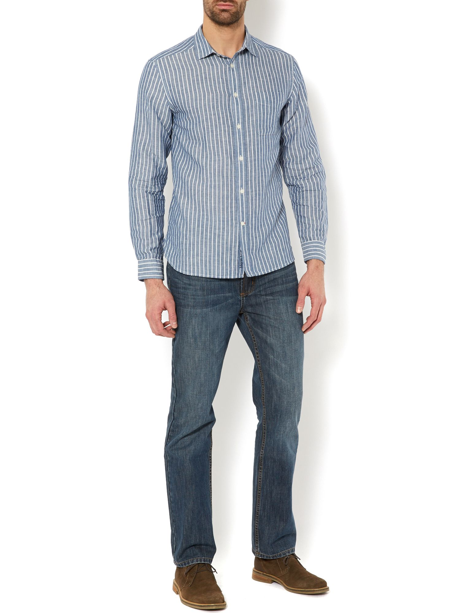 new lombard linen stripe long sleeve shirt