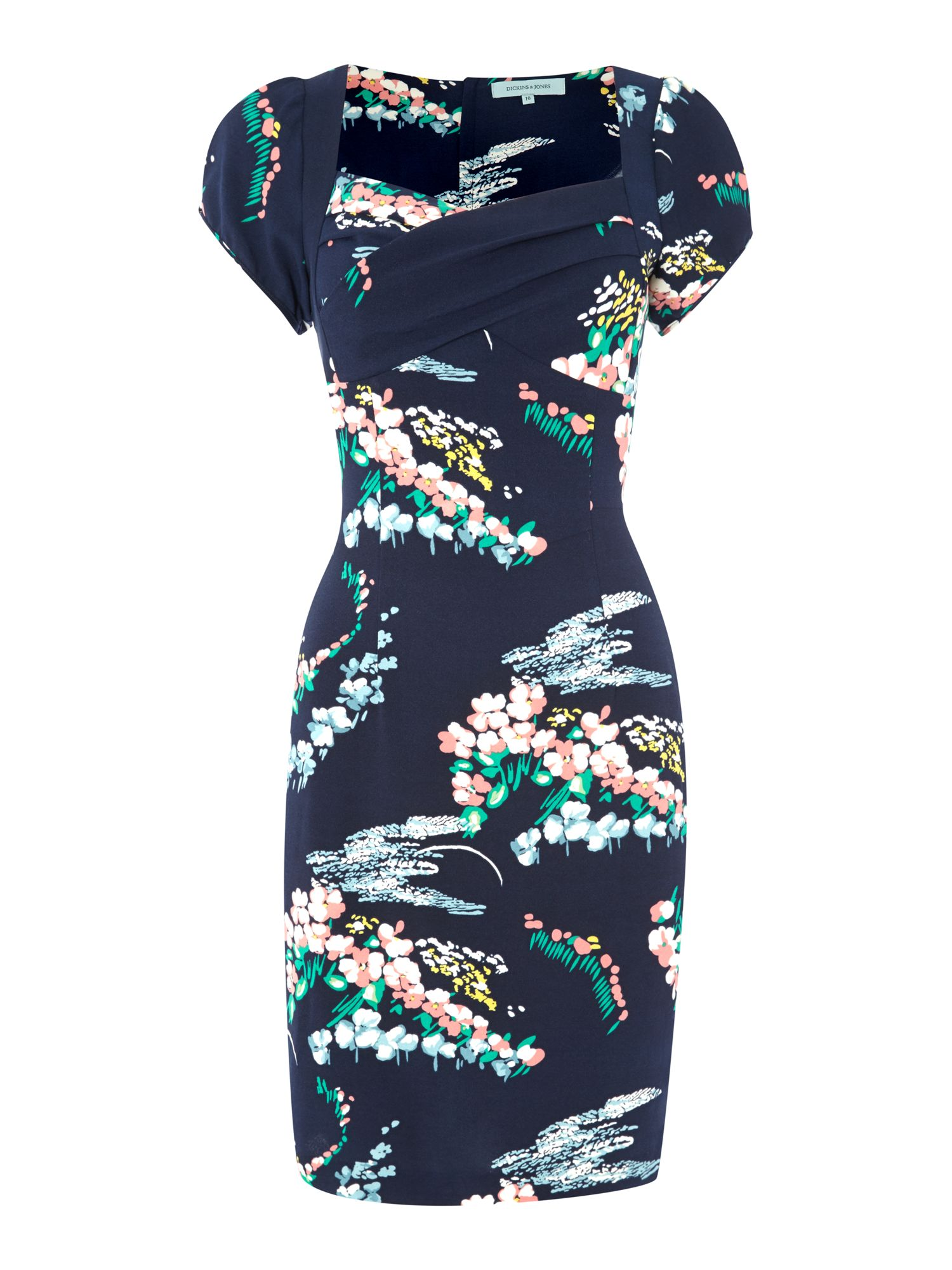 Ladies wisteria floral print dress