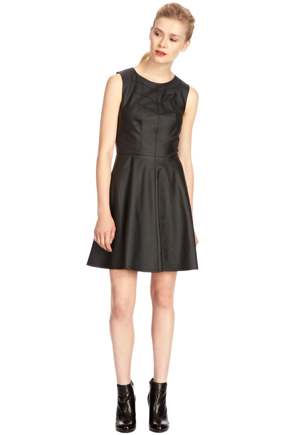 Sophia pleat faux leather dress