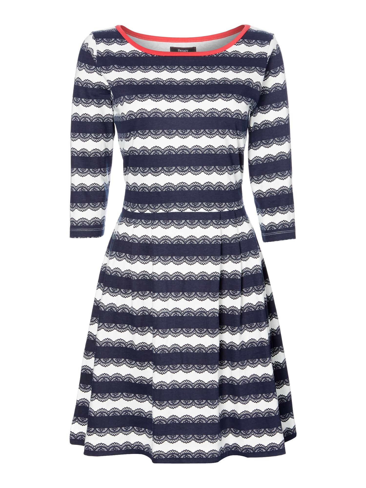 Picot print navy stripe fit and flare dress
