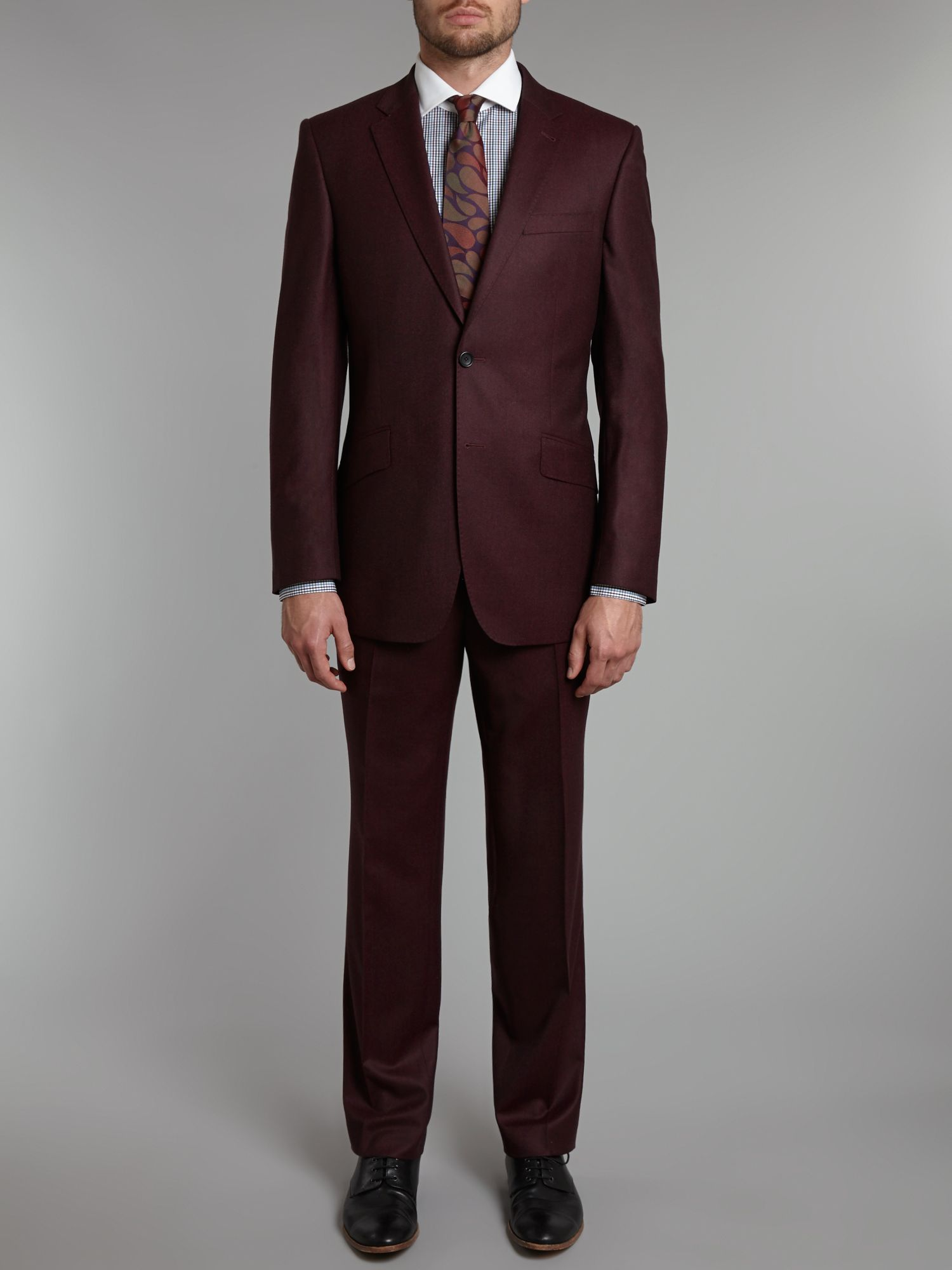 Luxury regular fit flannel notch lapel suit