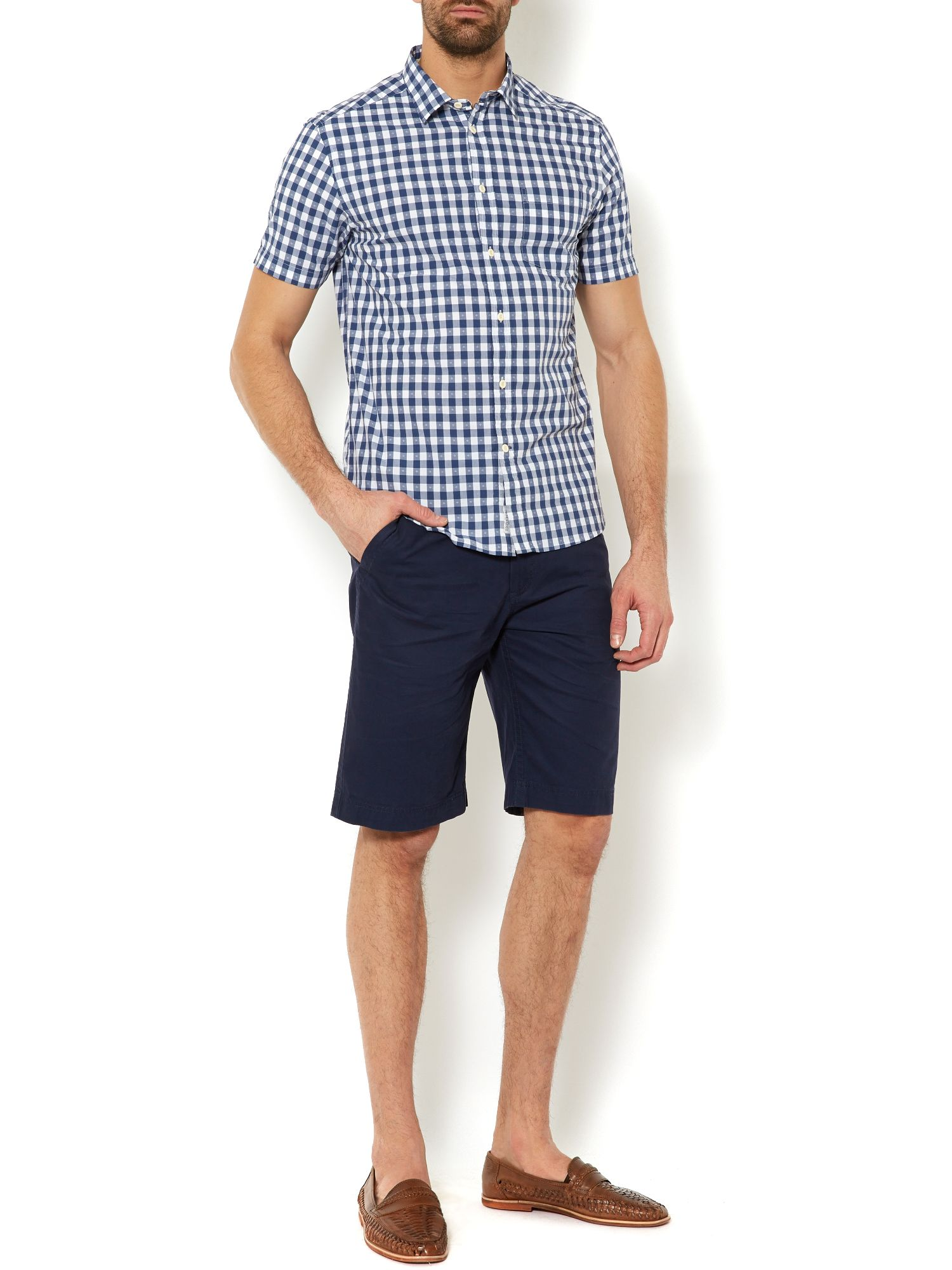 conneticut gingham check short sleeve shirt