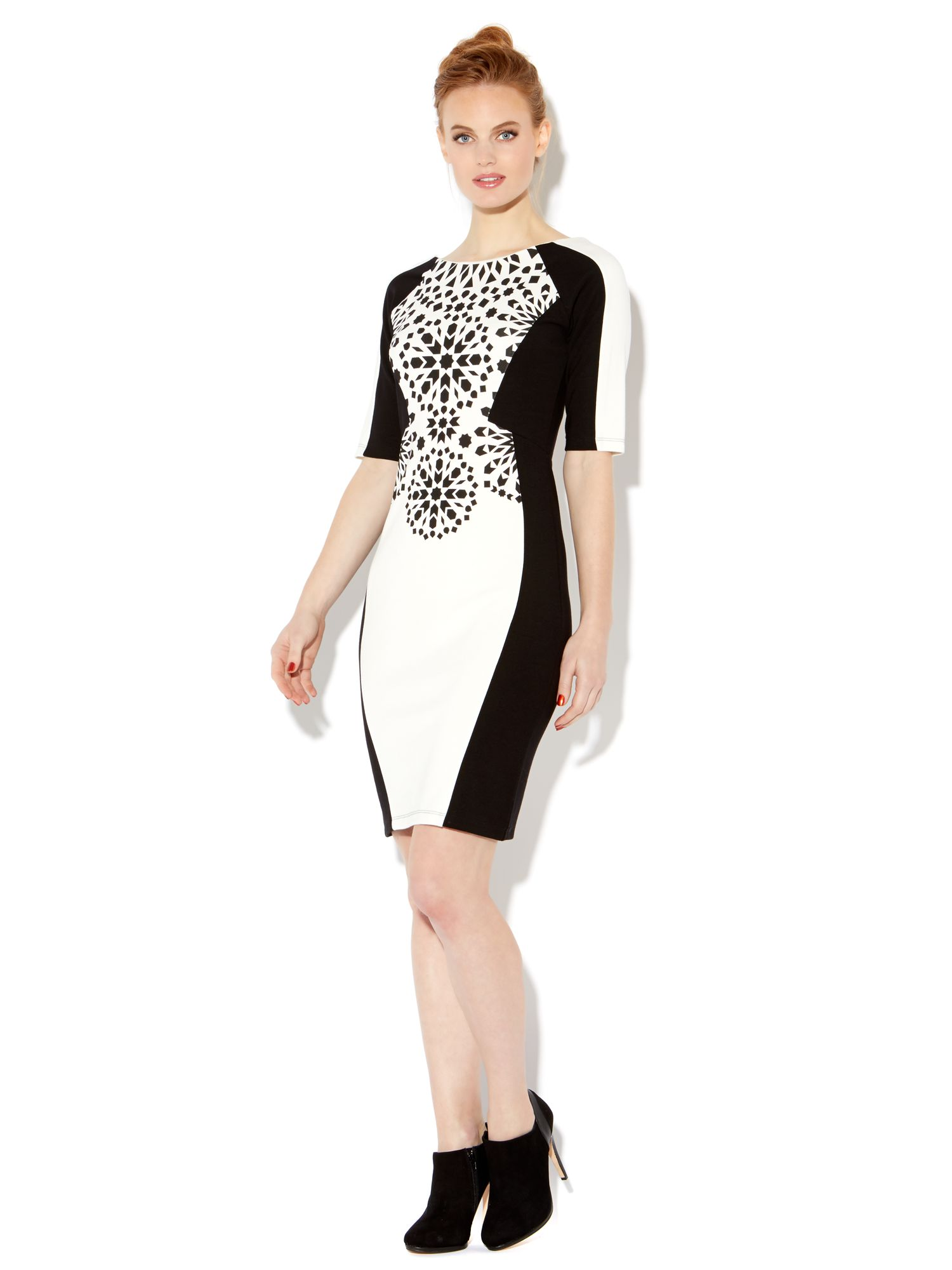 Placement print panel dress