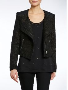 Asymmetric zip pu biker jacket