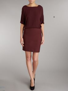 3/4 sleeve fitted plain dress