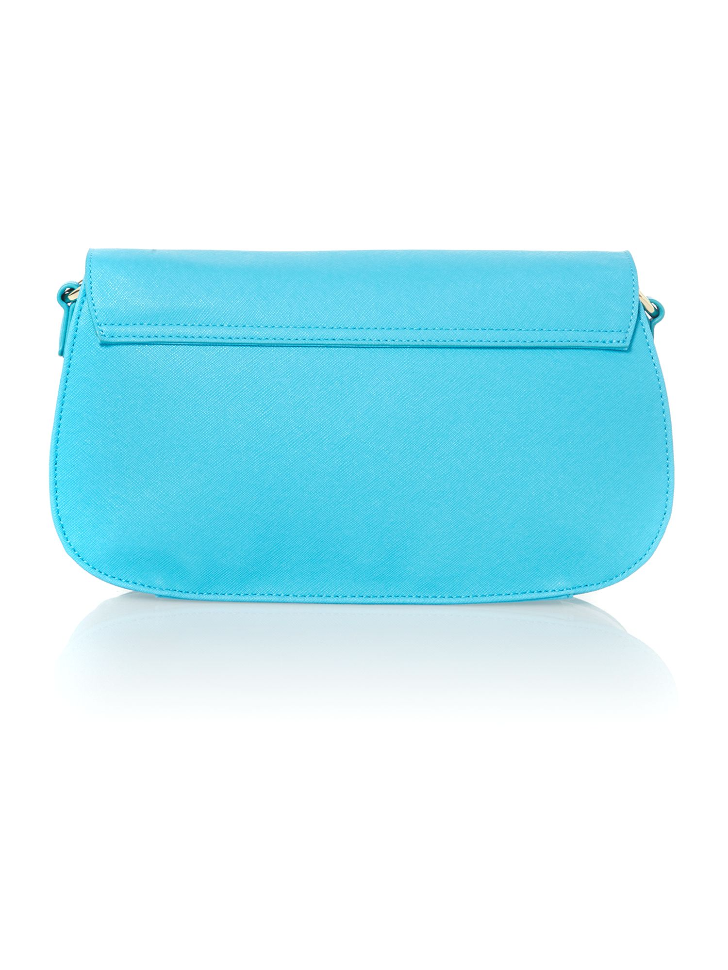 Turquoise saffiano small crossbody bag