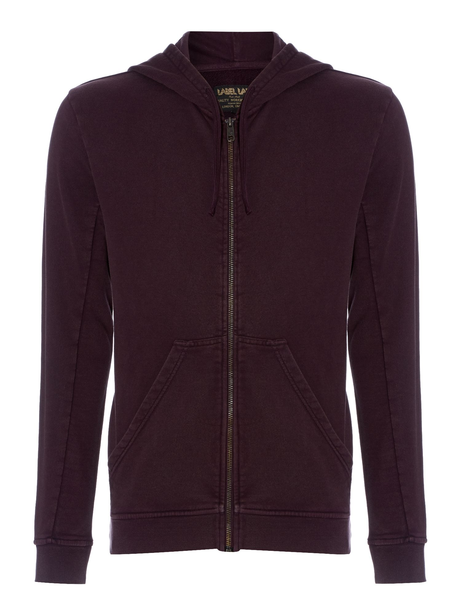 Ticker zip through hooded sweat