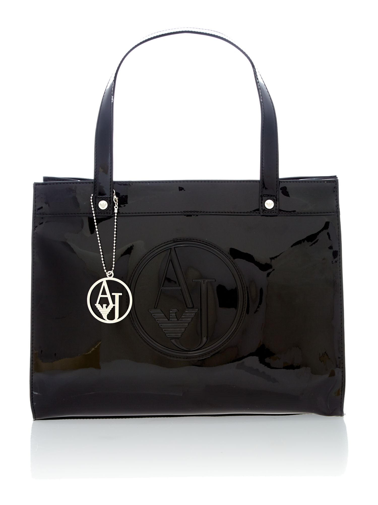 Black patent tote bag