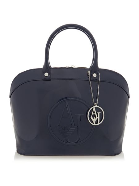 Navy patent dome bag
