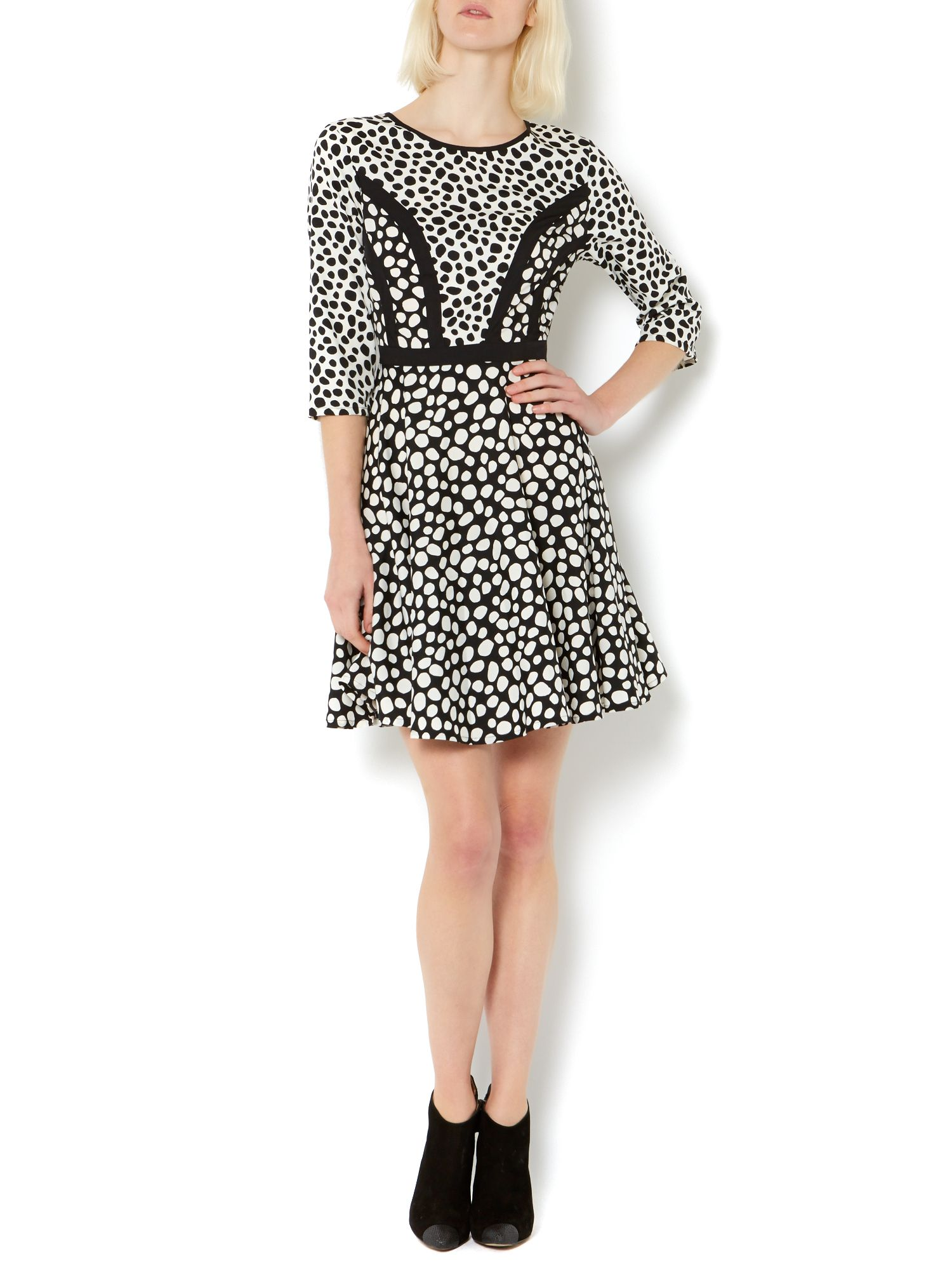 Spot woven print mix dress