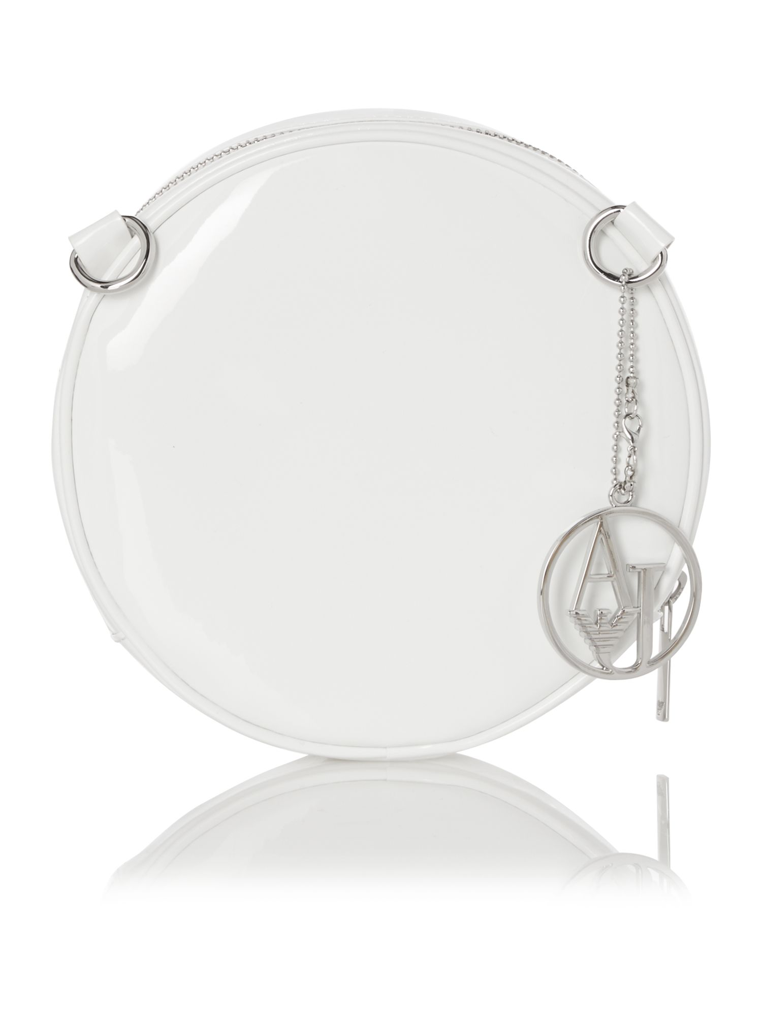 White patent small rounded crossbody bag