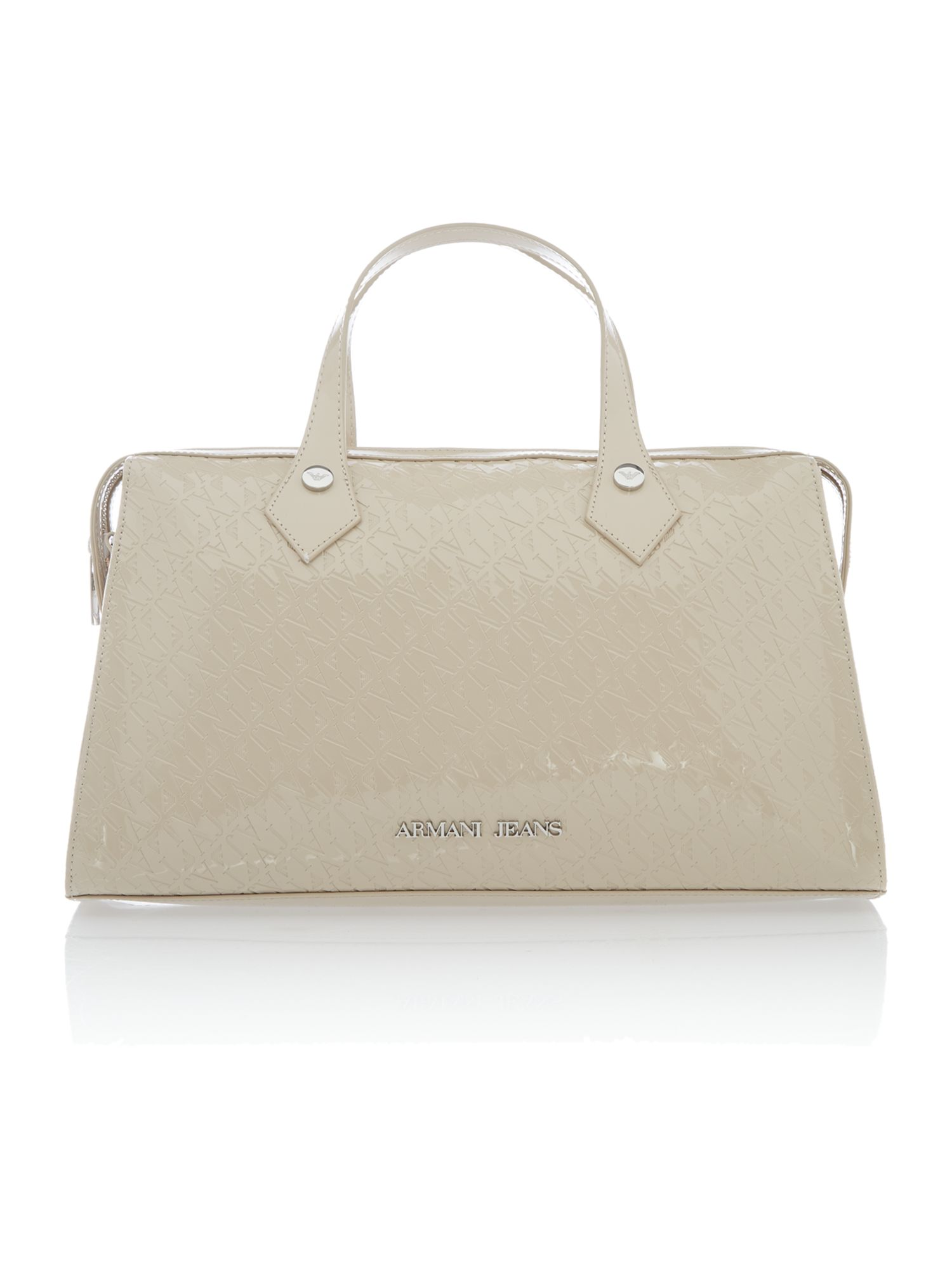 Beige all over logo tote bag