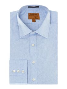 Birds jacquard point collar slim fit shirt