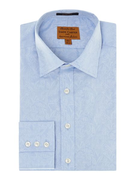 Simon Carter Birds jacquard point collar slim fit shirt
