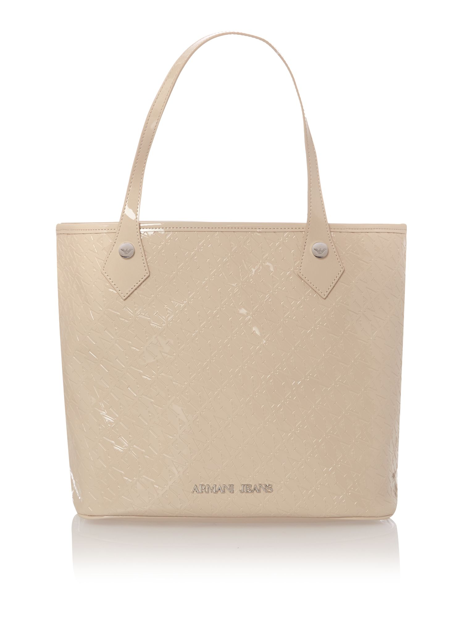 Beige all over logo small tote bag