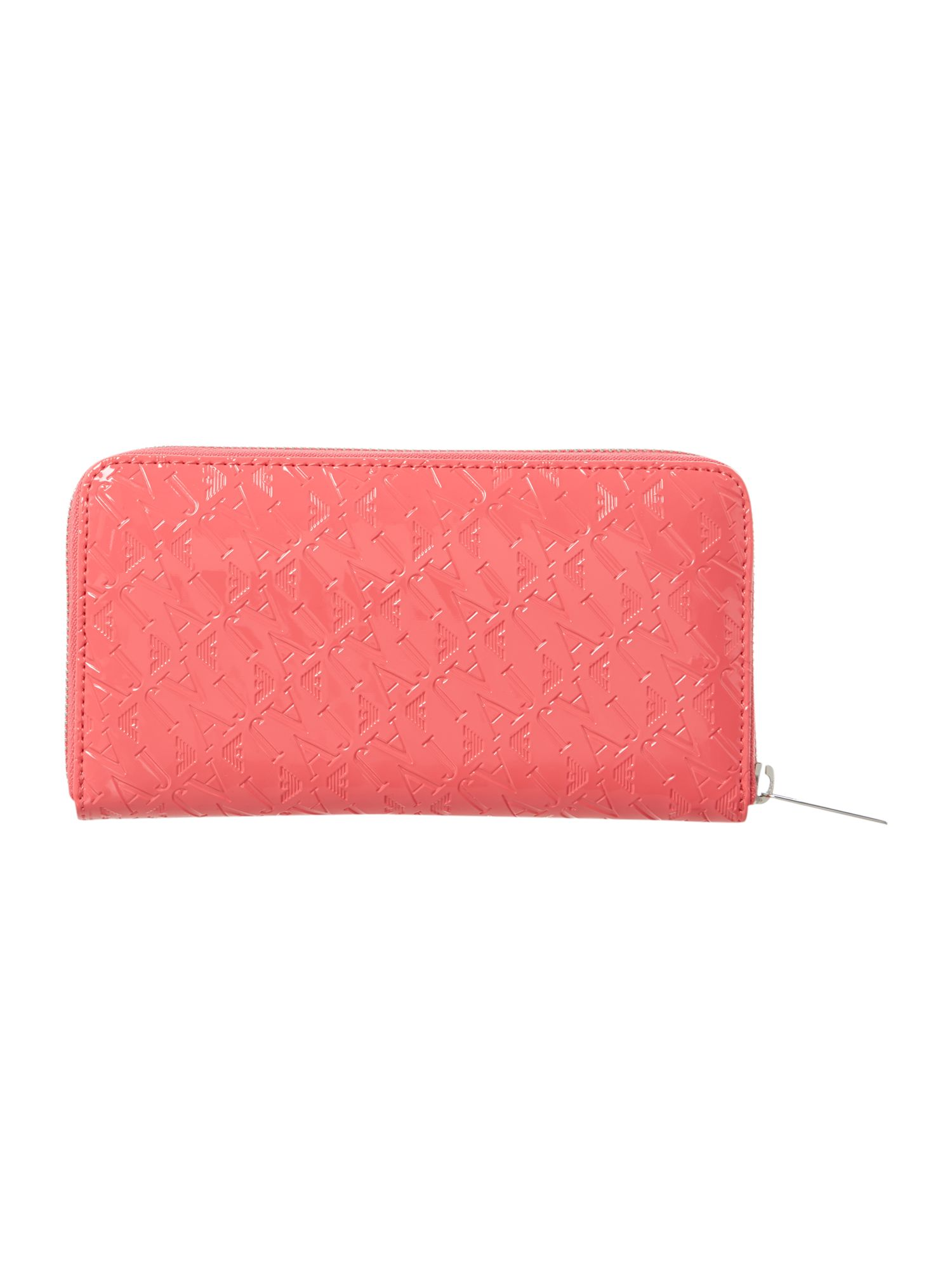 Pink large all over logo print ziparound purse