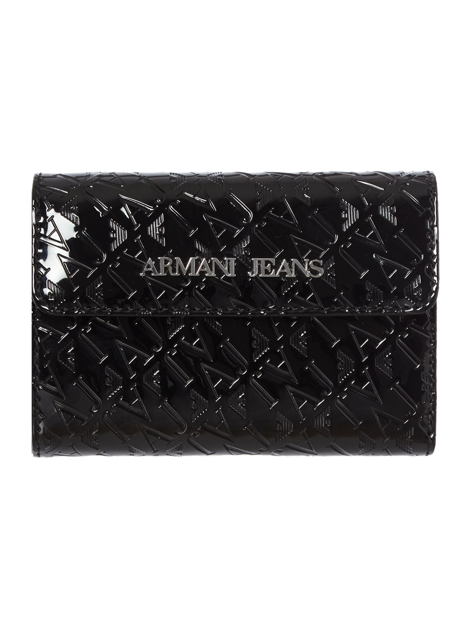 Black medium all over logo print ziparound purse