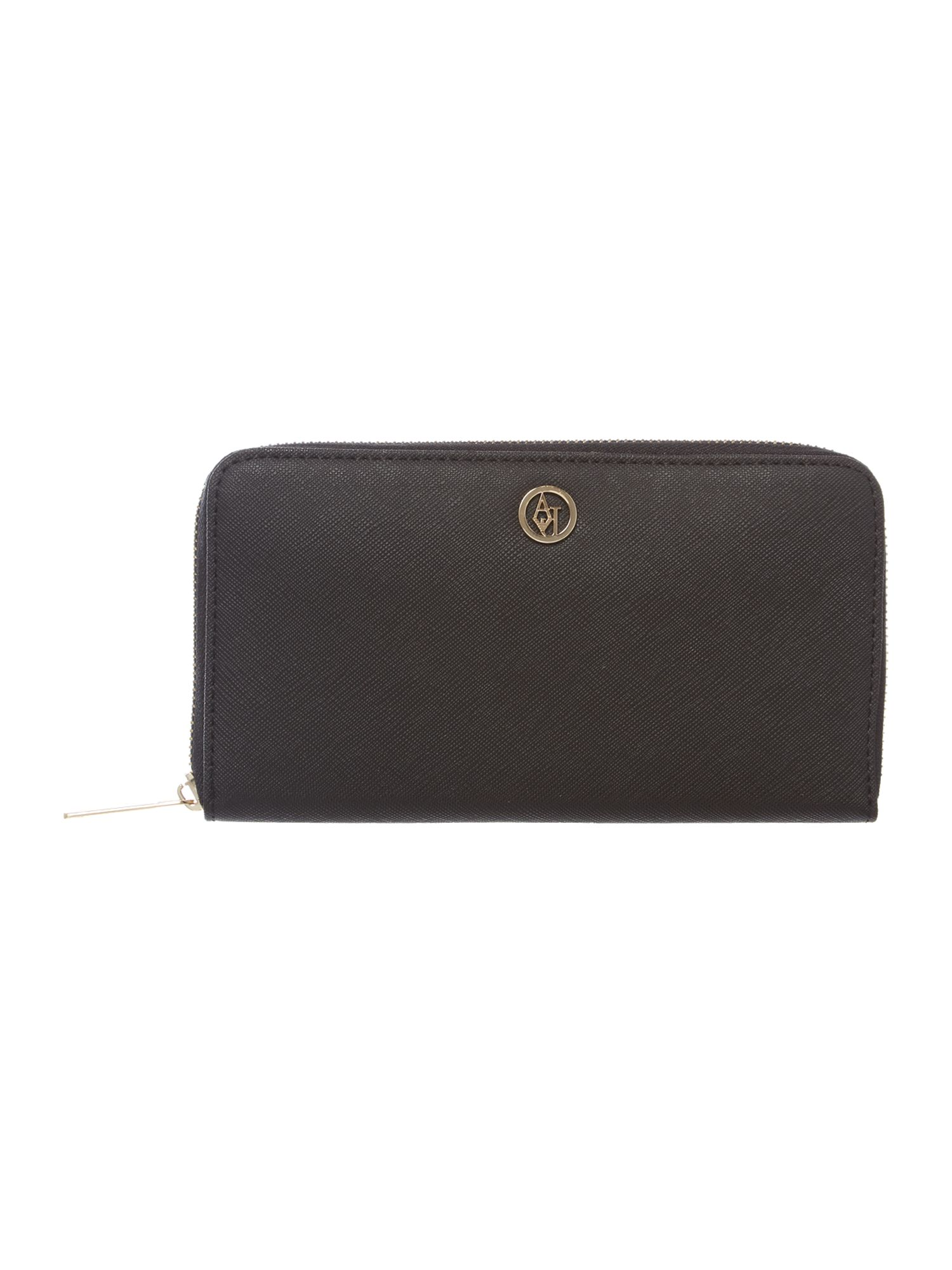 Black saffiano large ziparound purse