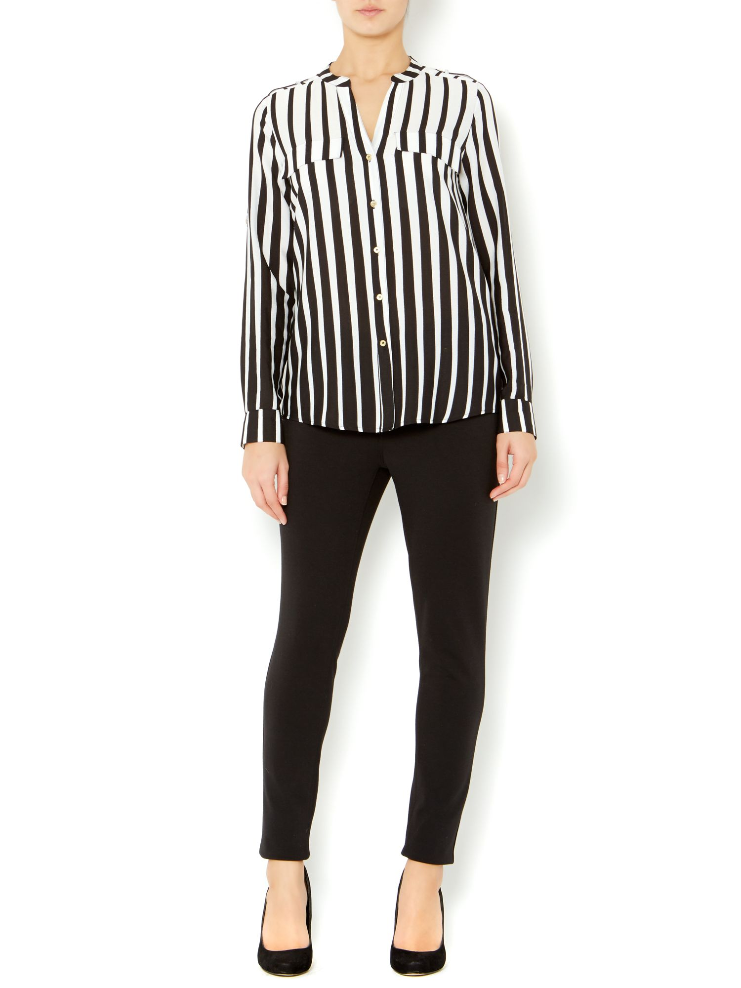 Stripe roll sleeve blouse