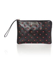 Black studded flat pouch purse