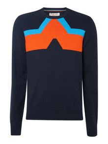Chevron pattern crew neck jumper