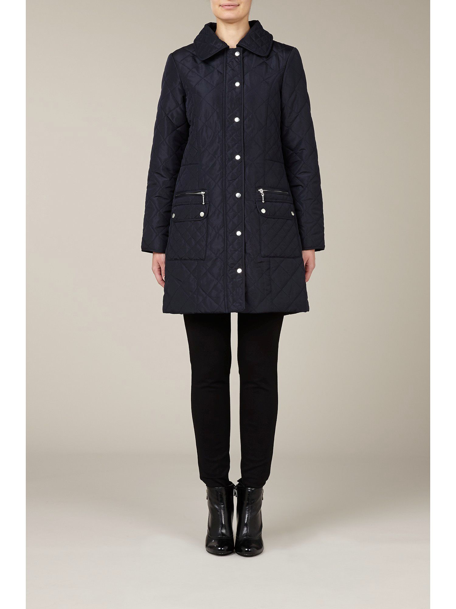 Navy diamond quilted coat