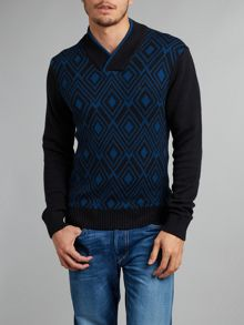 Shawl collar pattern jumper