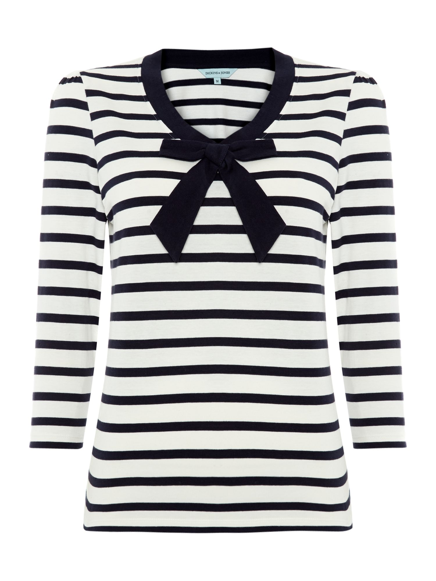 Stripe jersey top with bow