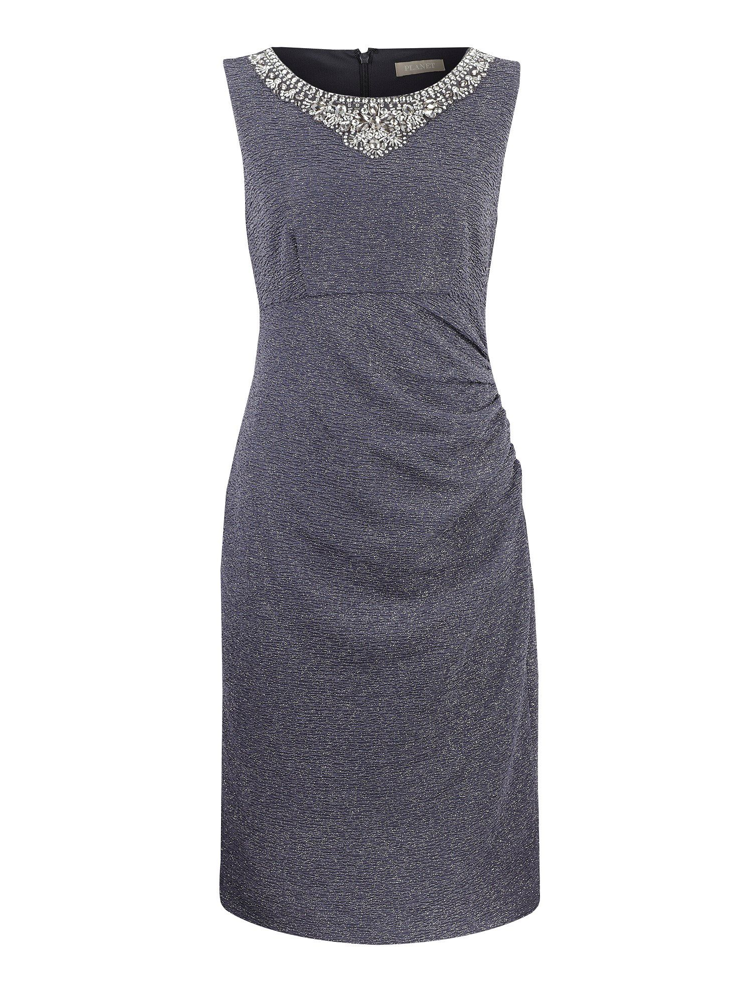 Charcoal embellished neckline dress