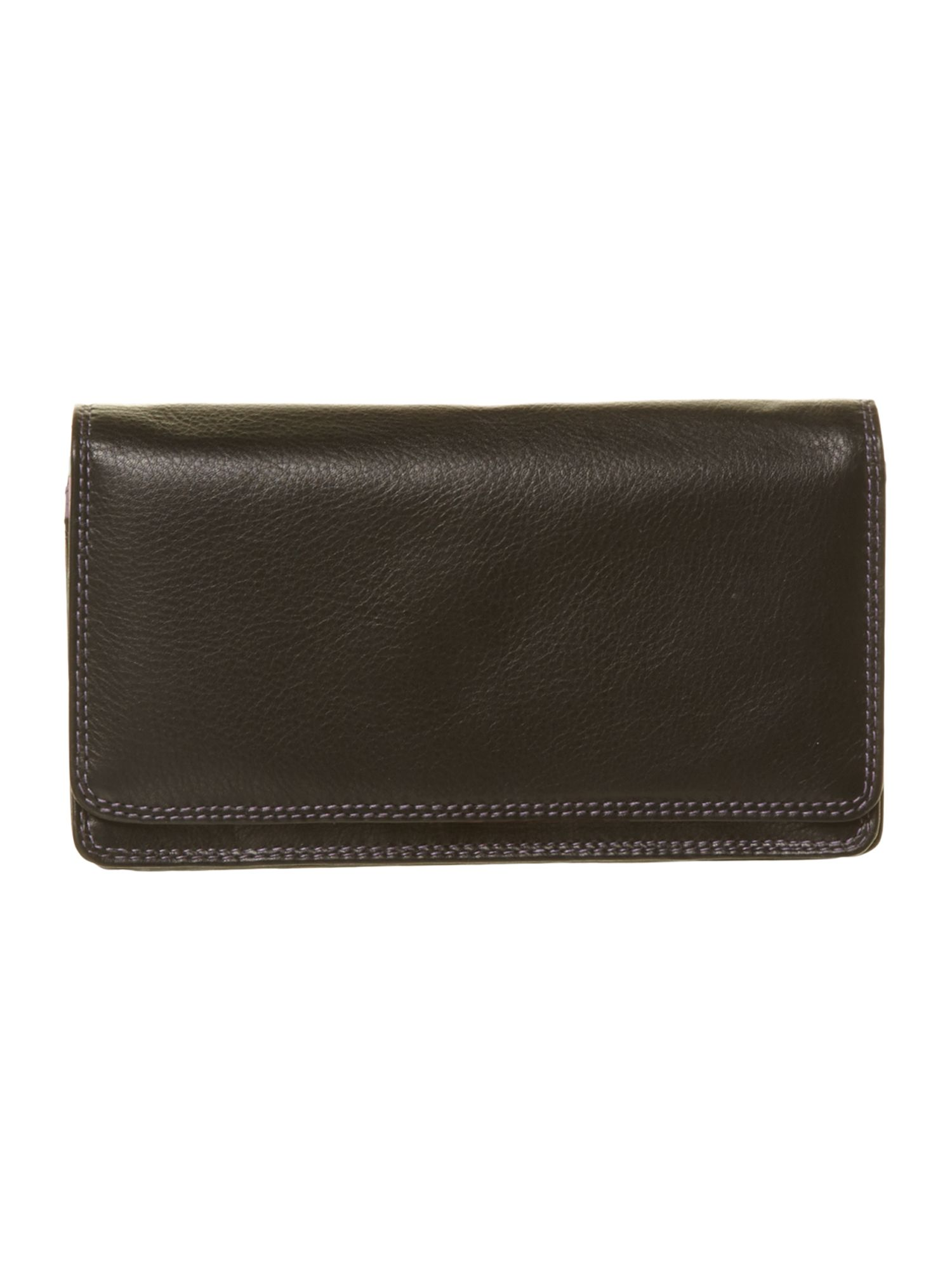 Block colour large black flapover purse