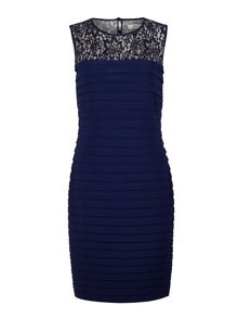 Navy pleated embellished dress