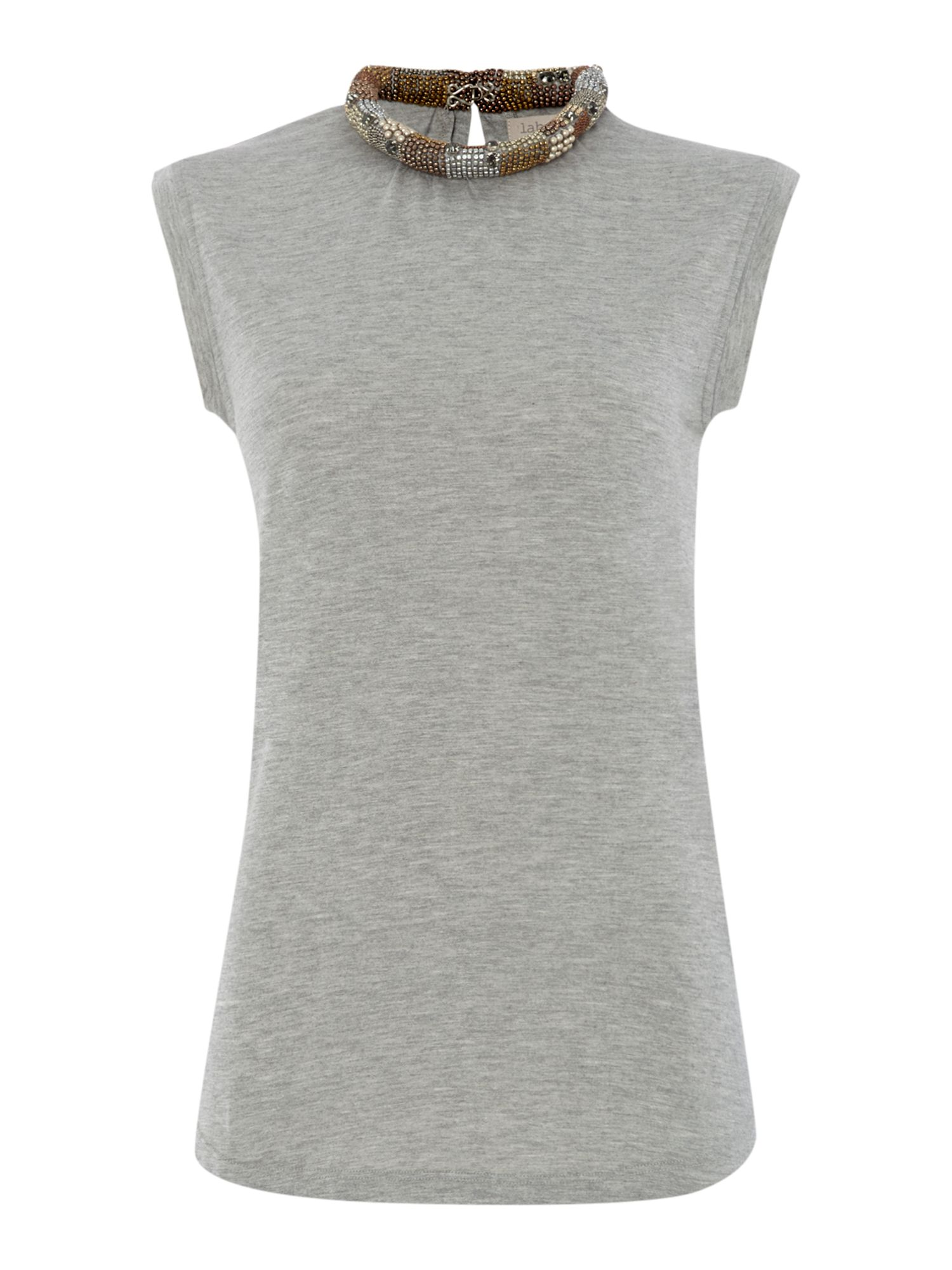 Embellished neckline sleeveless top