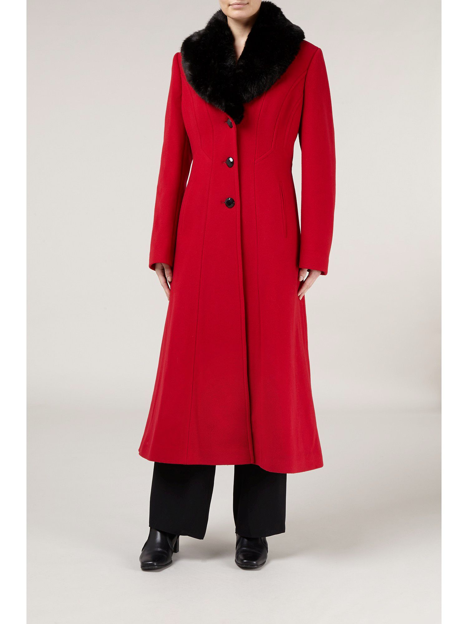 Long red faux fur collar coat