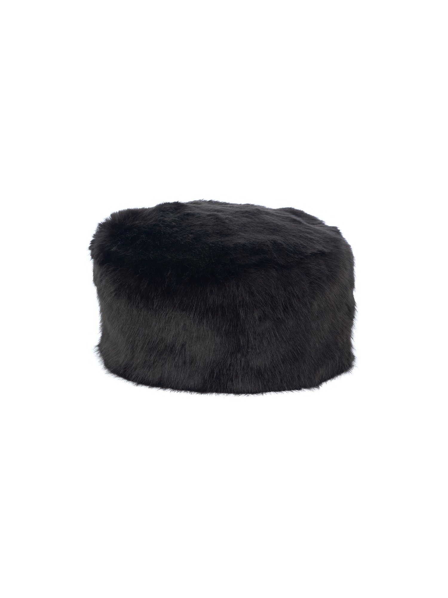 Black luxury faux fur hat