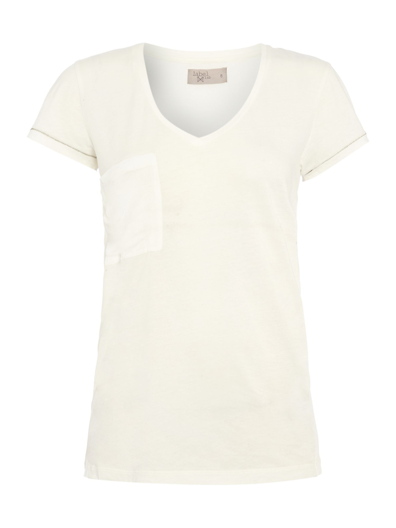 Woven back jersey mix tee