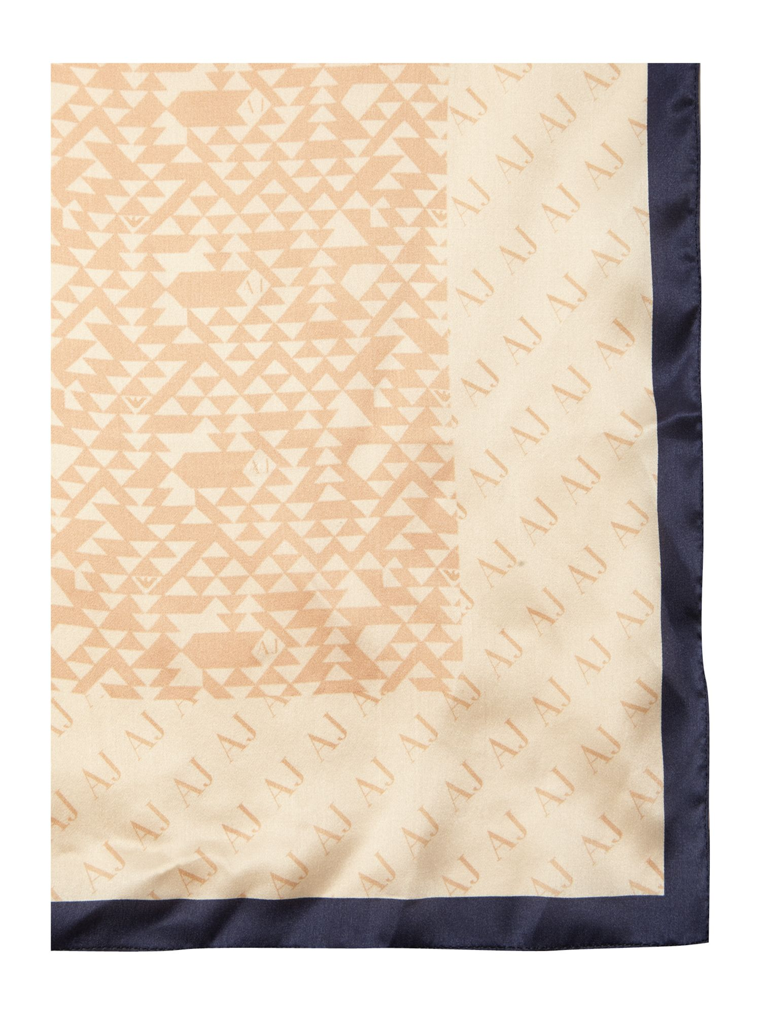 Square silk branded border scarf