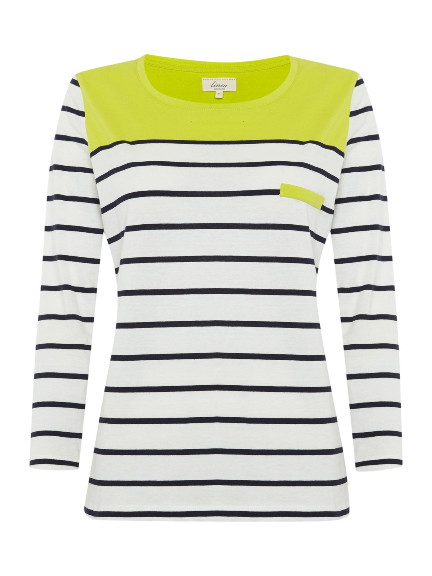 Contrast stripe jersey top