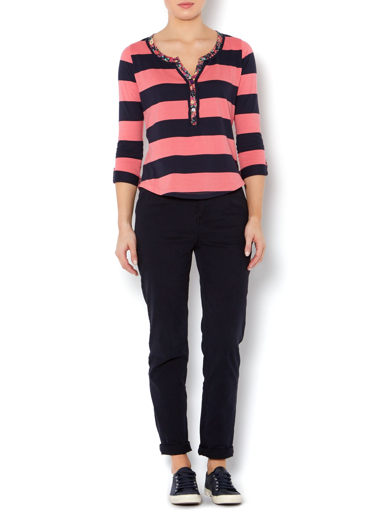 Pink and navy stripe placket top