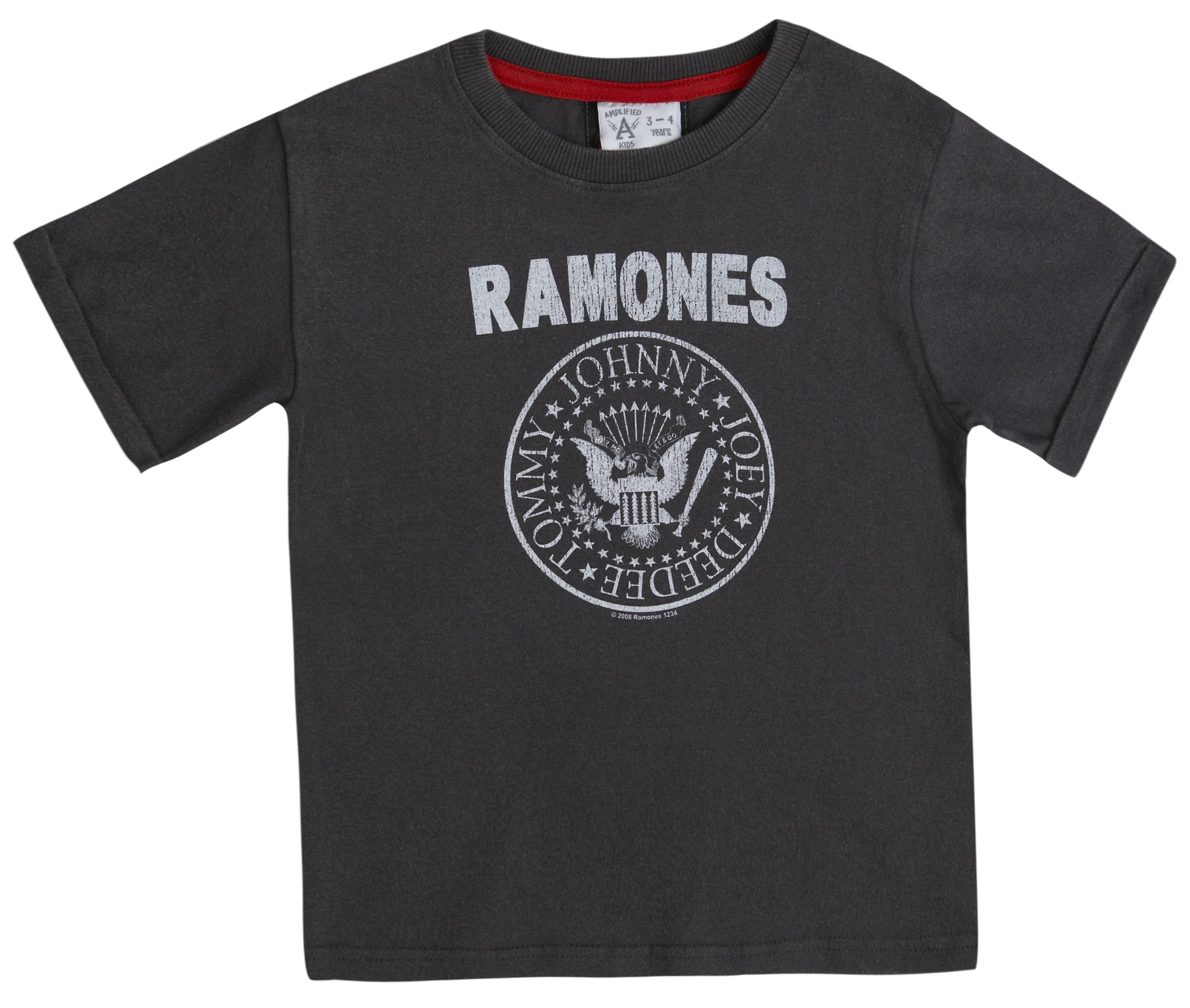 Amplified Kids Kid`s Ramones logo vintage wash TShirt Grey