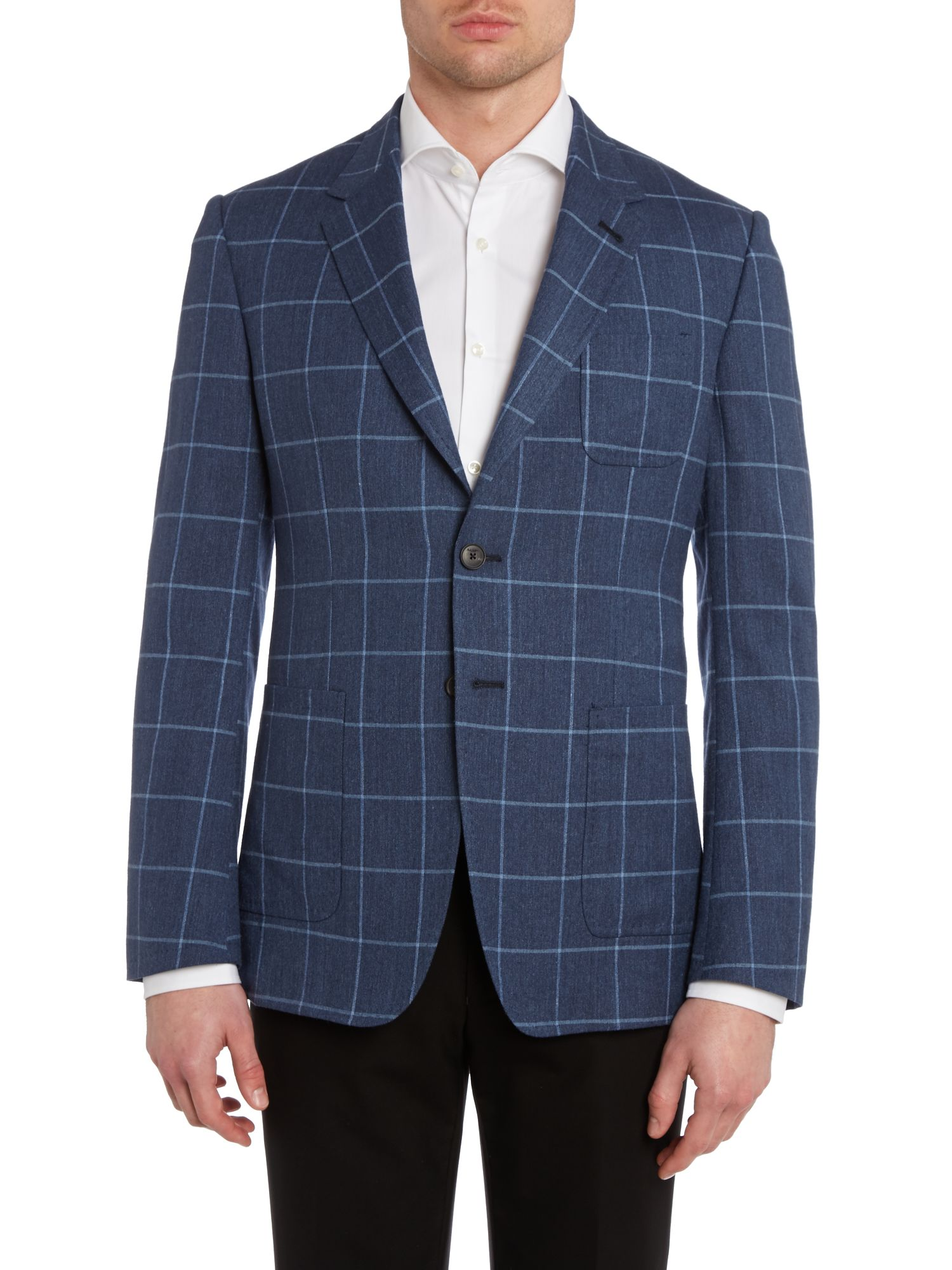 Windowpane check regular fit jacket