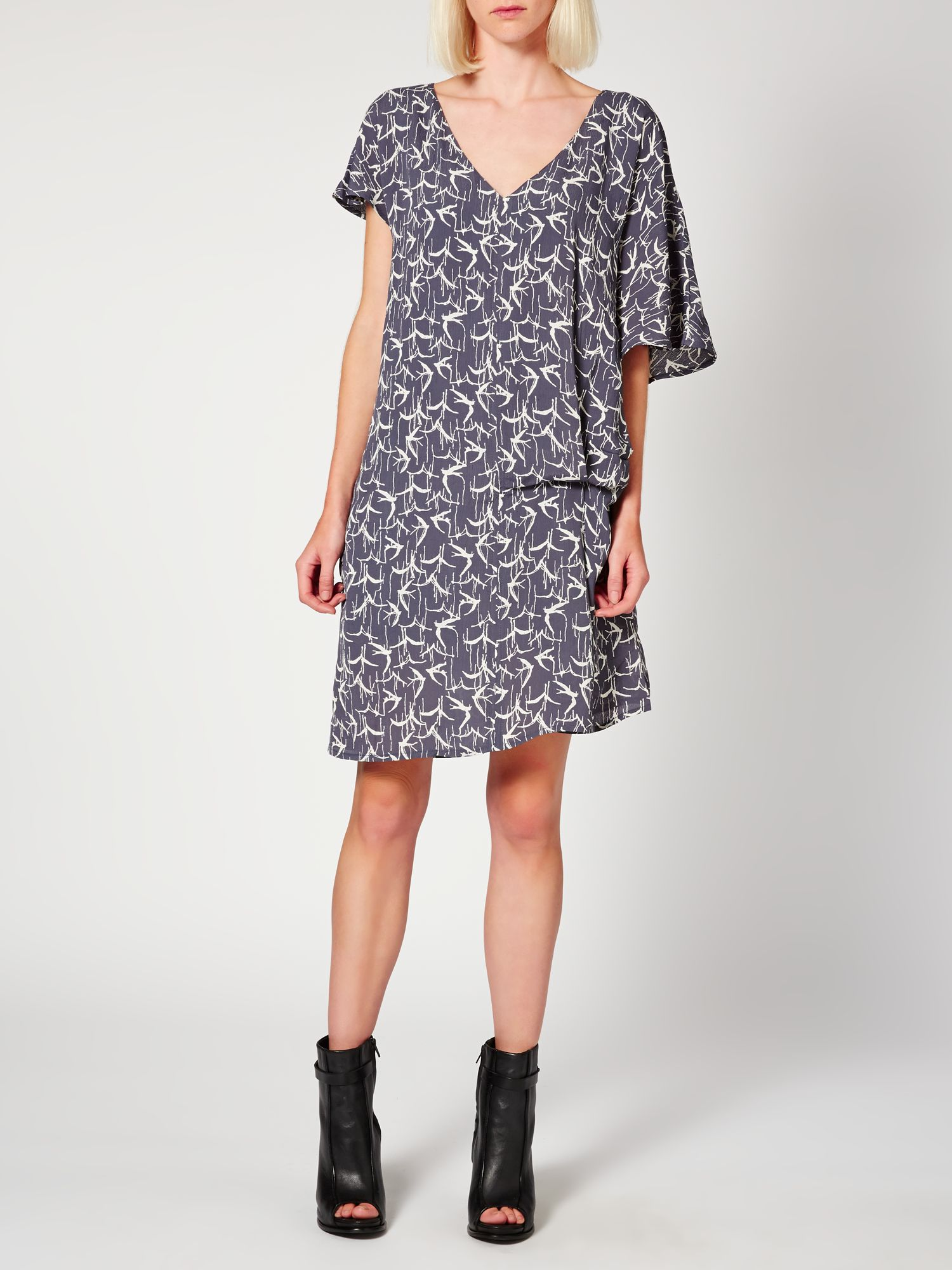 Inky bird print dress