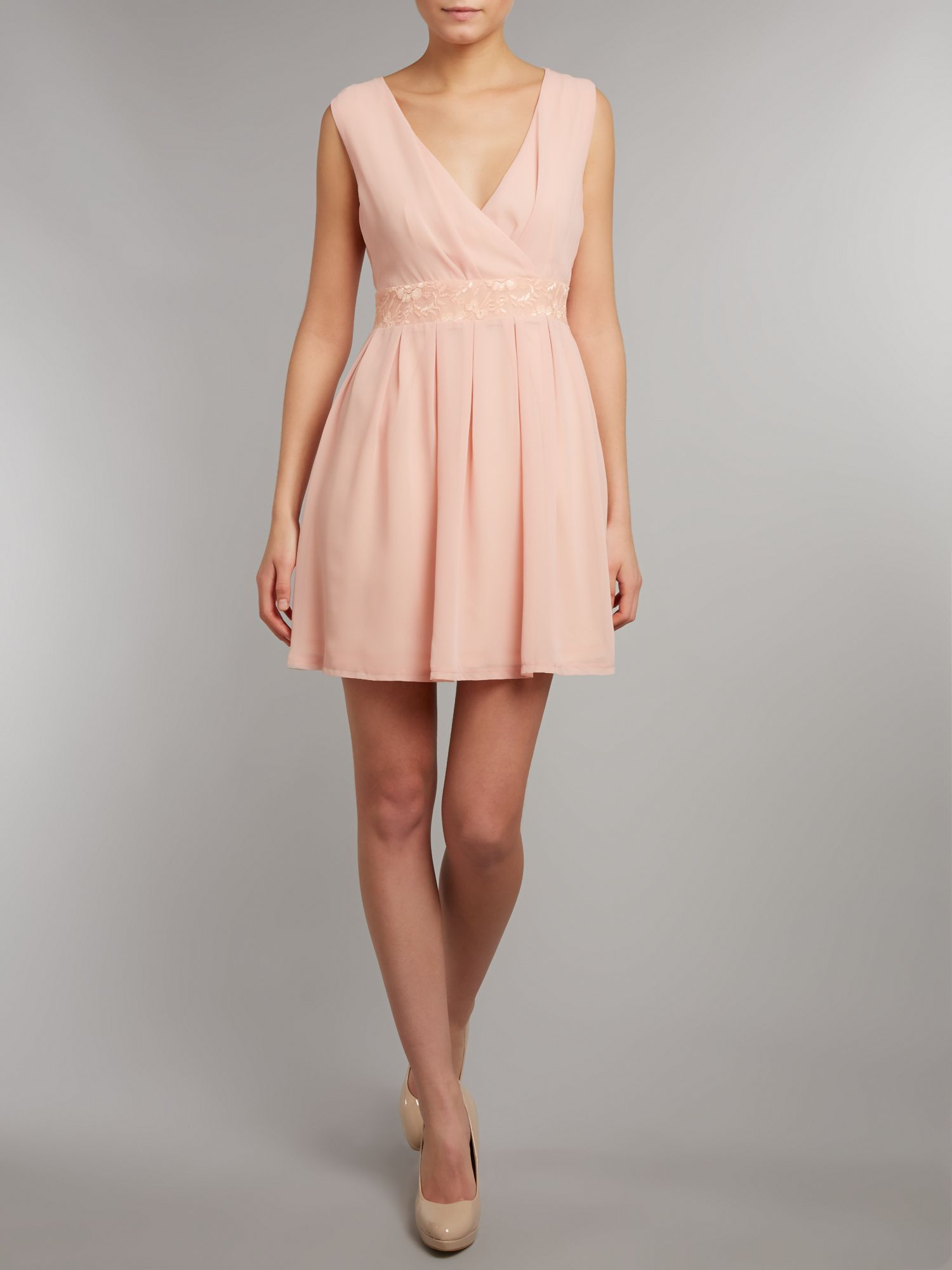 Chiffon & lace box pleat wrap dress