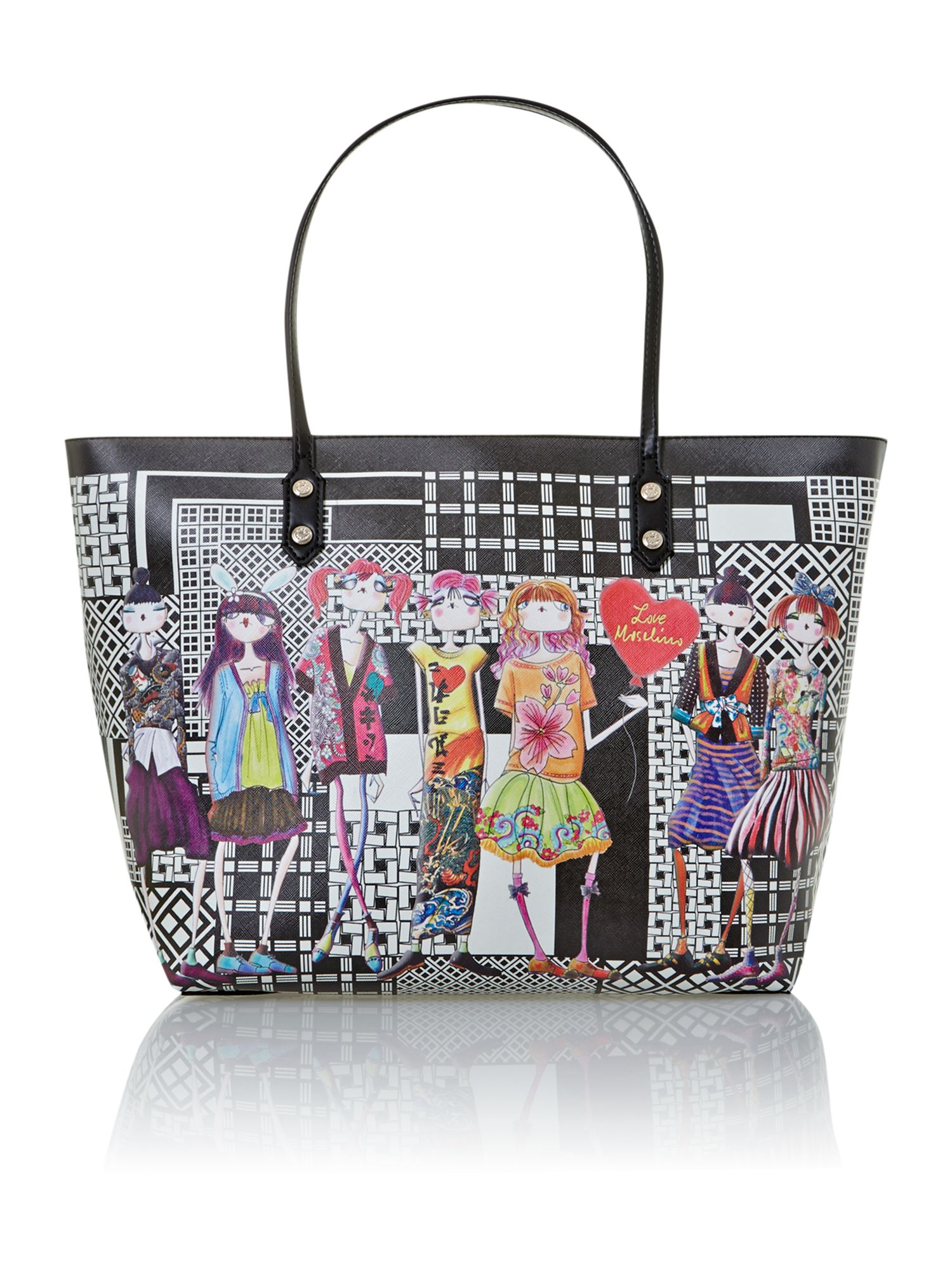 Black large charming tote bag
