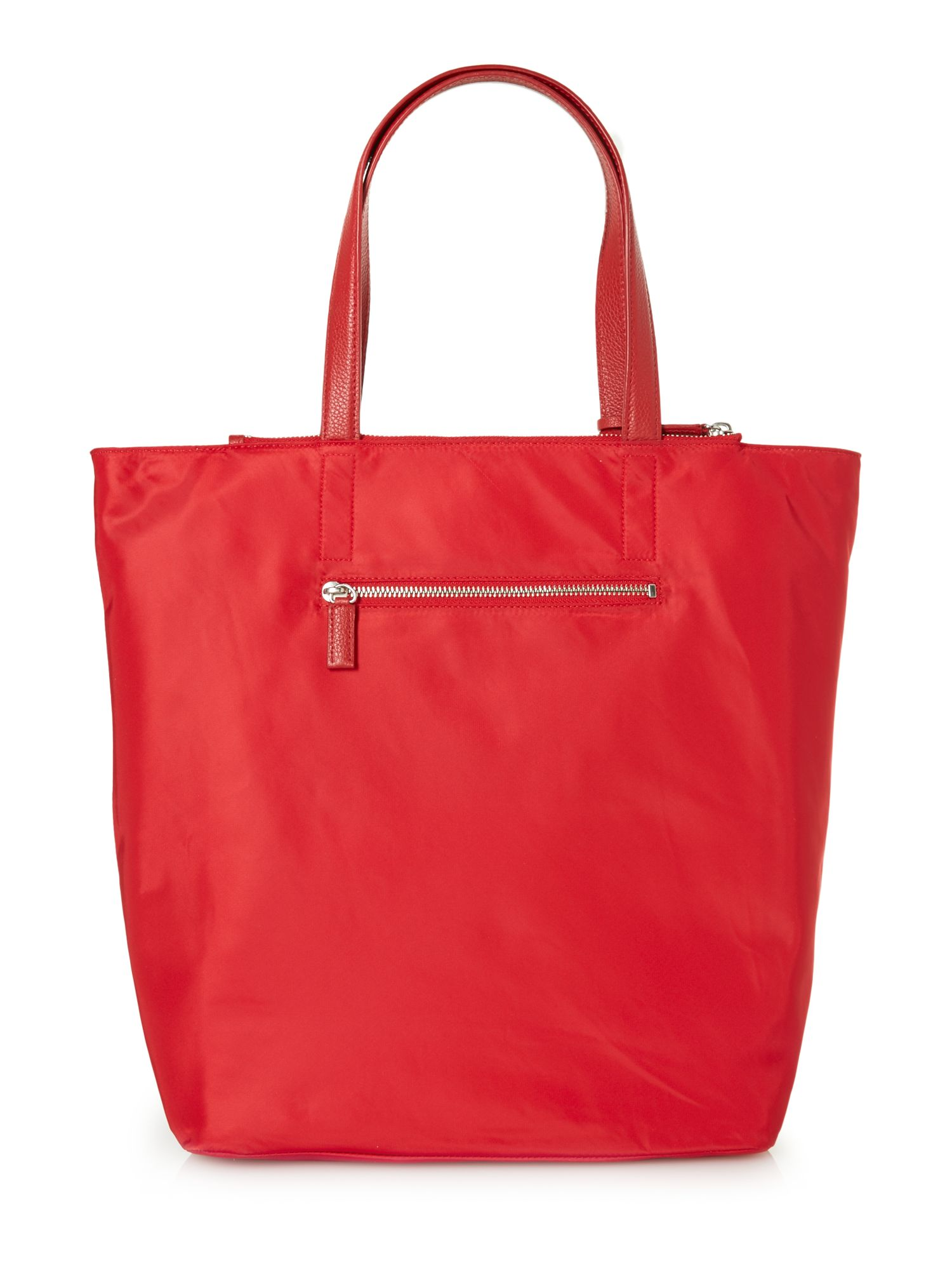 Nylon red large tassel tote bag