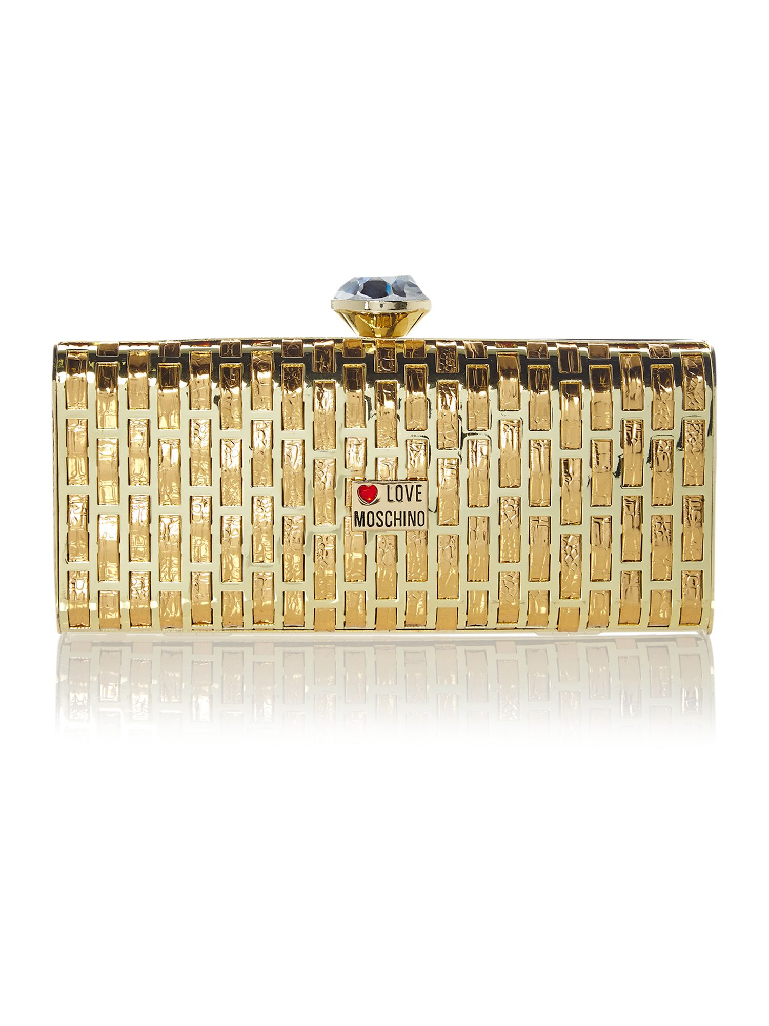 Small gold crystal metallic clutch bag