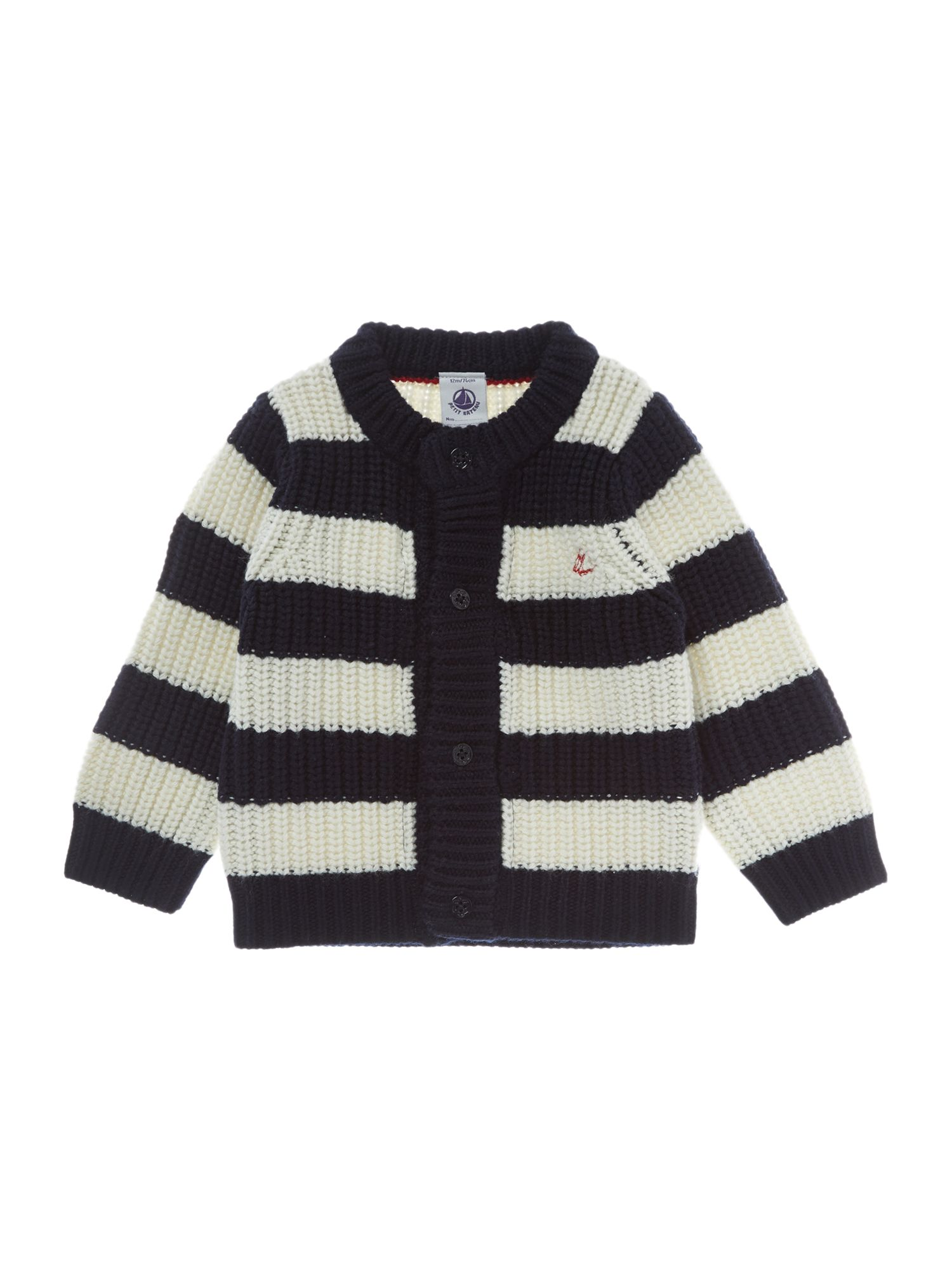 Baby boy`s wool and cotton knit cardigan