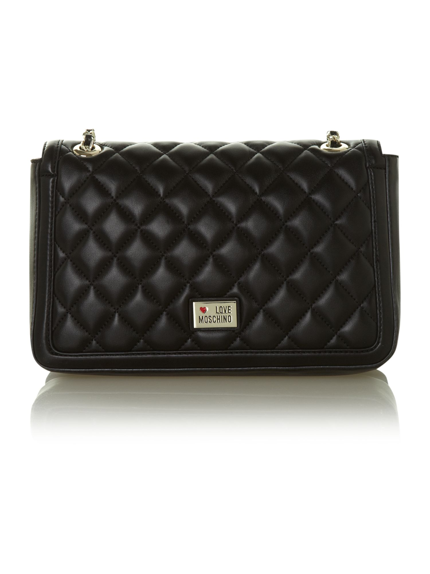 Black medium flapover quilted shoulder bag